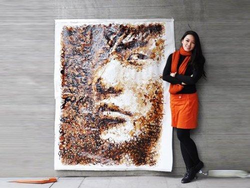 Портрет созданный из кофейных пятен
