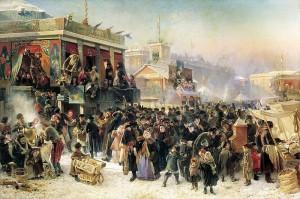 «Народное гулянье во время Масленицы на Адмиралтейской площади в Петербурге». К. Е. Маковский, 1869.