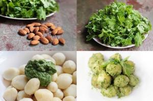 Картофельный салат: картошка, петрушка, миндаль.