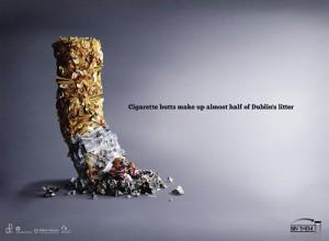 Сигаретные окурки составляют почти половину всего мусора в Дублине.
