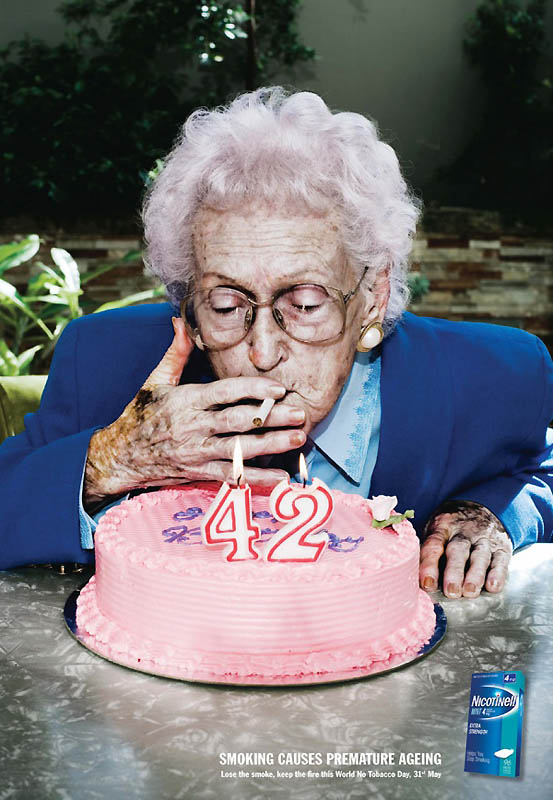 Курение вызывает преждевременное старение.