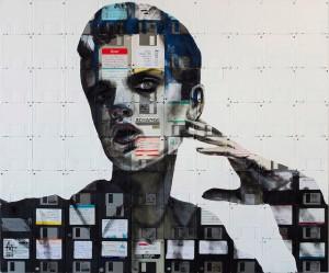 Креативные портреты сделанные из флоппи-дисков