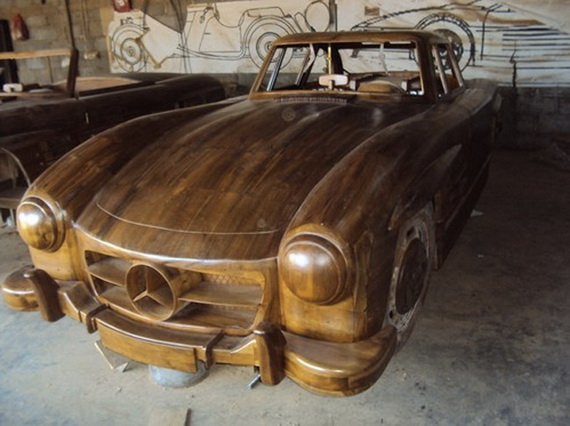 Mercedes-Benz 300SL 1955 сделанный из дерева