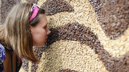 Мозаика более чем из миллиона кофейных зерен