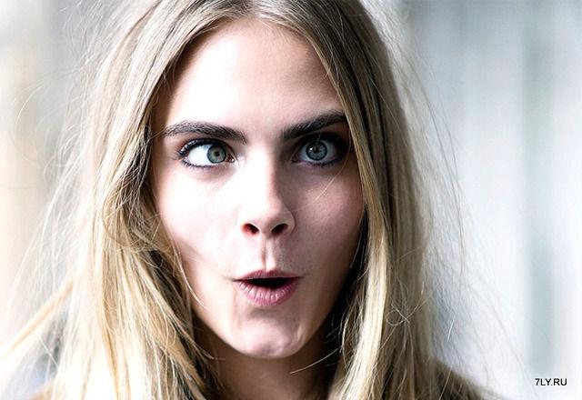 Лица модели Кары Делевинь.