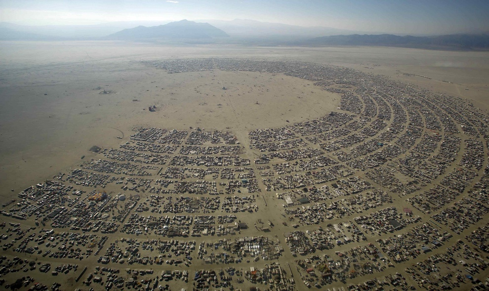 "An aerial view shows the Burning Man 2012 ""Fertility 2.0"" arts and music festival in the Black Rock Desert of Nevada"