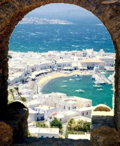 Бухта острова Миконос, Греция.
