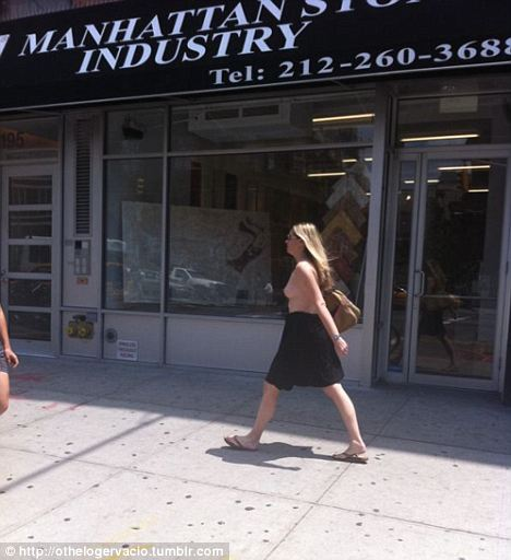 Topless Bowery woman
