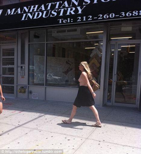 Topless Bowery woman
