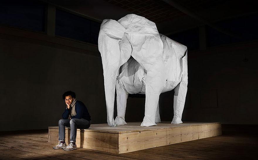 origami-lifesize-white-elephant-sipho-mabona-9