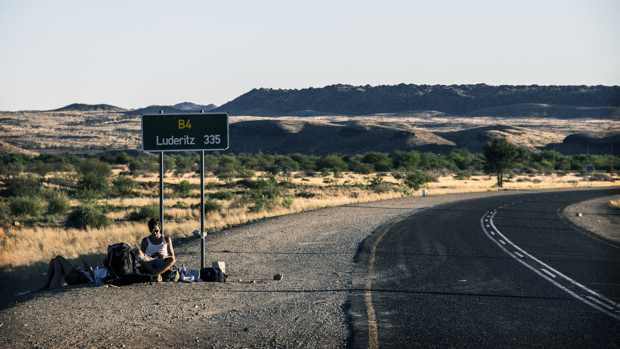 Christiaan Triebert Hitchhiking in Namibia