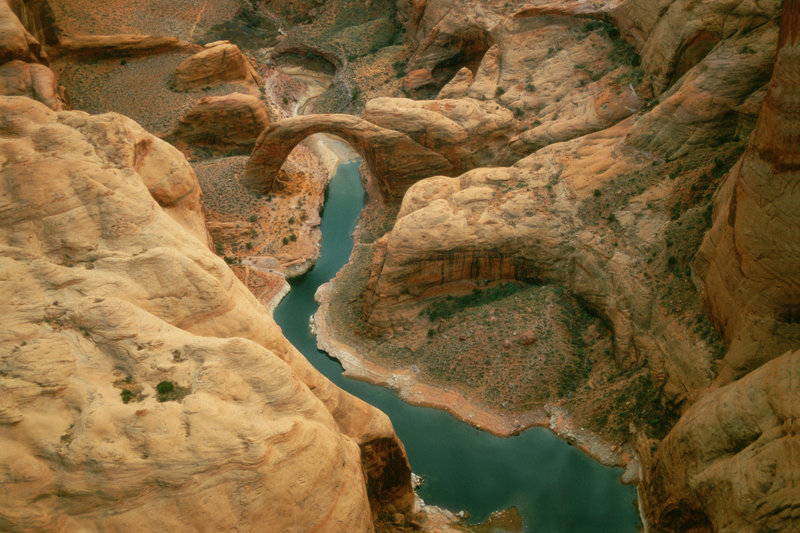 Rainbow Bridge and Lake Powell Arizona, USA.