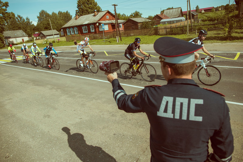 Policeman checks the speed 2nd stage Kostroma-Perm