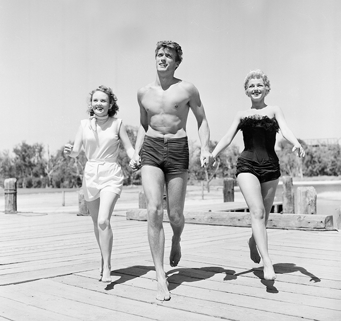 Clint Eastwood With Actresses Olive Stargess And Dani Crayne In San Francisco (1954)