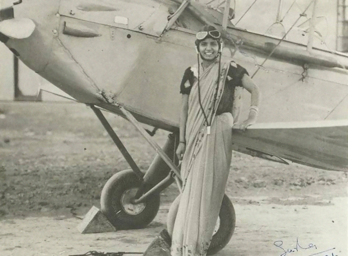 21 Sarla Thakral First Indian Woman Fly. Earned Aviation Pilot License 1936 At 21 Flew Gypsy Moth Solo