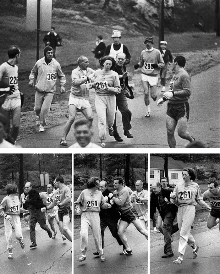 4 Kathrine Switzer First Woman Boston Marathon 1967 Organizer Jock Semple Tried To Tackle Her