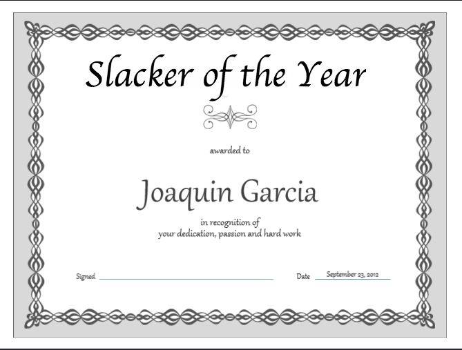 slacker of the year