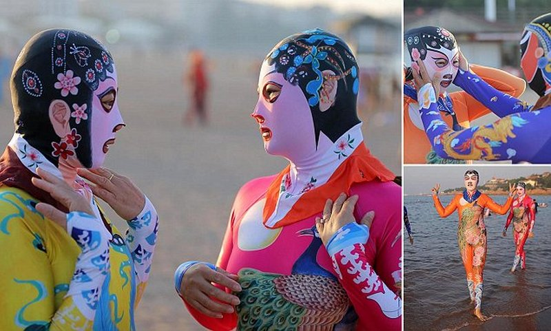 *COMPOSITE* Women wearing face-kini and full bodysuits on the beach in  Qingdao city, Shandong province, China - 28 Aug 2016